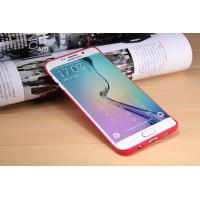 Пластиковый матовый нескользящий премиум чехол для Samsung Galaxy S6 Edge Plus Красный