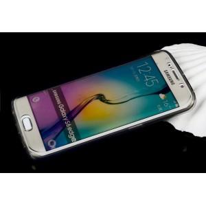 Двухмодульный силиконовый чехол горизонтальная книжка с транспарентной акриловой смарт крышкой для Samsung Galaxy S6 Edge Plus Серый