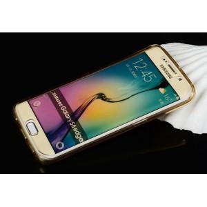 Двухмодульный силиконовый чехол горизонтальная книжка с транспарентной акриловой смарт крышкой для Samsung Galaxy S6 Edge Plus Бежевый