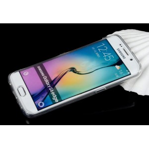 Двухмодульный силиконовый чехол горизонтальная книжка с транспарентной акриловой смарт крышкой для Samsung Galaxy S6 Edge Plus Белый