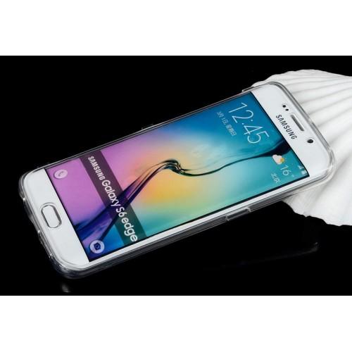 Двухмодульный силиконовый чехол горизонтальная книжка с транспарентной акриловой смарт крышкой для Samsung Galaxy S6 Edge Plus