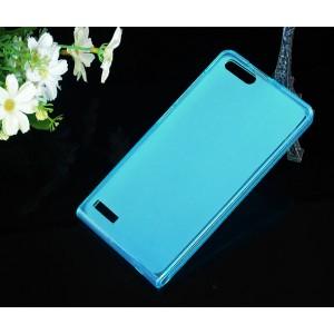Силиконовый полупрозрачный чехол для Huawei Ascend G6 Голубой