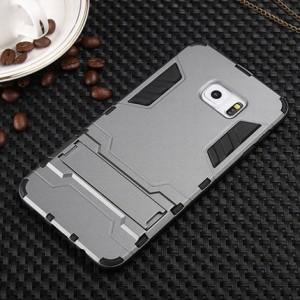 Антиударный гибридный силиконовый чехол с поликарбонатной крышкой и встроенной ножкой-подставкой для Samsung Galaxy S6 Edge Plus Серый