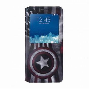 Дизайнерский принтованный чехол флип подставка на силиконовой основе с магнитной застежкой с окном вызова для Samsung Galaxy S6 Edge Plus