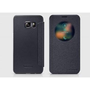 Чехол флип на пластиковой матовой нескользящей основе с окном вызова для Samsung Galaxy S6 Edge Plus Черный