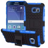 Антиударный гибридный силиконовый чехол с поликарбонатной крышкой и встроенной ножкой-подставкой для Samsung Galaxy S6 Edge Plus Синий