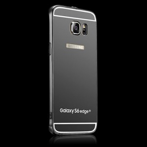 Гибридный металлический двухкомпонентный чехол и поликарбонатной крышкой с зеркальным покрытием для Samsung Galaxy S6 Edge Plus Черный