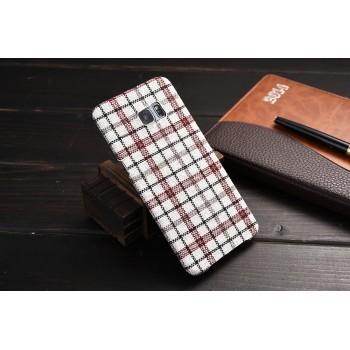 Пластиковый матовый дизайнерский чехол с тканевым покрытием для Samsung Galaxy S6 Edge Plus