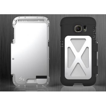 Эксклюзивный многомодульный ультрапротекторный пылевлагозащищенный ударостойкий нескользящий чехол алюминиево-цинковый сплав/силиконовый полимер с кожаной крышкой для Samsung Galaxy S6 Edge Plus