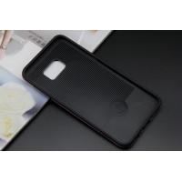Силиконовый матовый непрозрачный чехол с поликарбонатными вставками для Samsung Galaxy S6 Edge Plus Черный