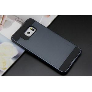 Силиконовый матовый непрозрачный чехол с поликарбонатными вставками для Samsung Galaxy S6 Edge Plus Синий