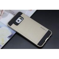 Силиконовый матовый непрозрачный чехол с поликарбонатными вставками для Samsung Galaxy S6 Edge Plus Бежевый