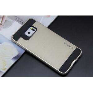 Силиконовый матовый непрозрачный чехол с поликарбонатными вставками для Samsung Galaxy S6 Edge Plus