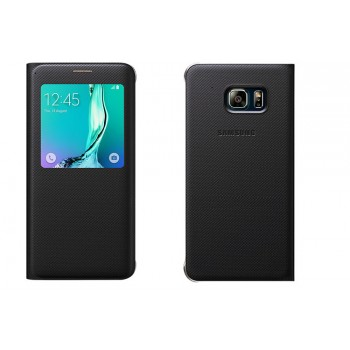 Текстурный чехол флип на пластиковой основе с окном вызова для Samsung Galaxy S6 Edge Plus