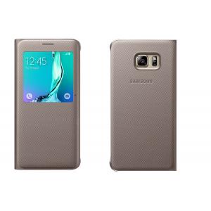 Текстурный чехол флип на пластиковой основе с окном вызова для Samsung Galaxy S6 Edge Plus Бежевый