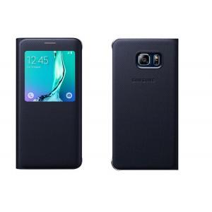Текстурный чехол флип на пластиковой основе с окном вызова для Samsung Galaxy S6 Edge Plus Синий