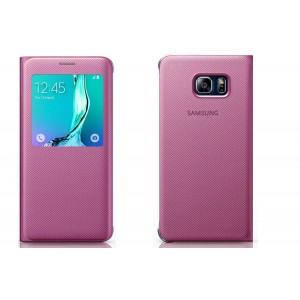 Текстурный чехол флип на пластиковой основе с окном вызова для Samsung Galaxy S6 Edge Plus Розовый