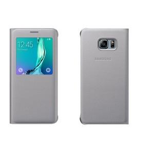 Текстурный чехол флип на пластиковой основе с окном вызова для Samsung Galaxy S6 Edge Plus Серый