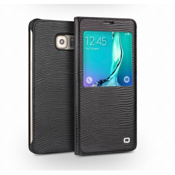 Кожаный чехол смарт флип (нат. кожа ящера) на пластиковой основе с окном вызова для Samsung Galaxy S6 Edge Plus
