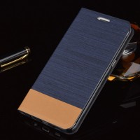 Текстурный чехол флип подставка на силиконовой основе с отделением для карт для Samsung Galaxy S6 Edge Plus Синий