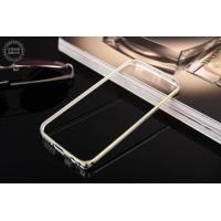 Металлический бампер с золотой окантовкой для Samsung Galaxy S6 Edge Plus Белый