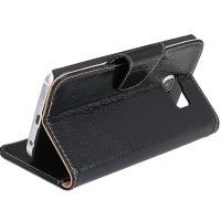 Кожаный чехол портмоне подставка на пластиковой основе с отсеком для карт и защелкой для Samsung Galaxy S6 Edge Plus Черный
