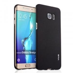 Пластиковый матовый непрозрачный чехол для Samsung Galaxy S6 Edge Plus Черный