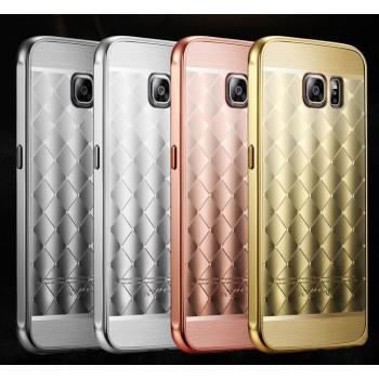 Двухкомпонентный чехол с металлическим бампером и текстурной поликарбонатной накладкой для Samsung Galaxy S6 Edge Plus