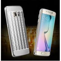 Двухкомпонентный чехол с металлическим бампером и текстурной поликарбонатной накладкой для Samsung Galaxy S6 Edge Plus Белый