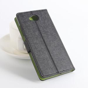 Чехол портмоне подставка на силиконовой основе с отделением для карт текстура Ткань для Microsoft Lumia 650