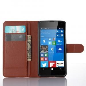 Чехол портмоне подставка с защелкой для Microsoft Lumia 650 Коричневый