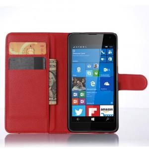 Чехол портмоне подставка с защелкой для Microsoft Lumia 650 Красный