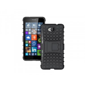 Антиударный гибридный силиконовый чехол с поликарбонатной крышкой и встроенной ножкой-подставкой для Microsoft Lumia 650 Черный