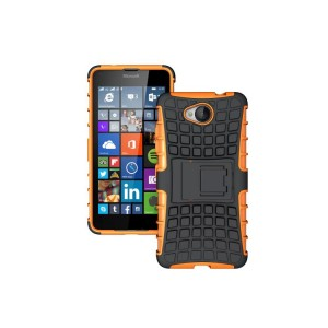 Антиударный гибридный силиконовый чехол с поликарбонатной крышкой и встроенной ножкой-подставкой для Microsoft Lumia 650 Оранжевый