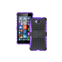 Антиударный гибридный силиконовый чехол с поликарбонатной крышкой и встроенной ножкой-подставкой для Microsoft Lumia 650 Фиолетовый