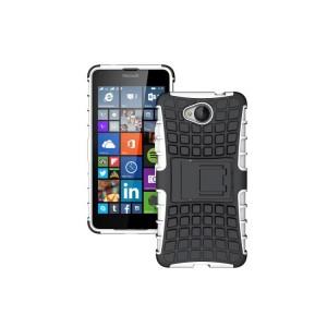 Антиударный гибридный силиконовый чехол с поликарбонатной крышкой и встроенной ножкой-подставкой для Microsoft Lumia 650 Белый