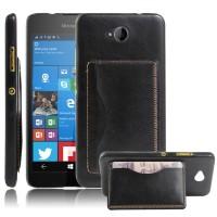Дизайнерский чехол накладка с отделениями для карт и подставкой для Microsoft Lumia 650 Черный