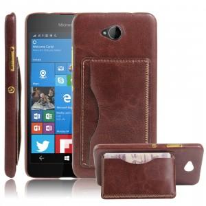 Дизайнерский чехол накладка с отделениями для карт и подставкой для Microsoft Lumia 650 Коричневый