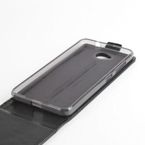 Глянцевый чехол вертикальная книжка на силиконовой основе с магнитной застежкой для Microsoft Lumia 650 Черный