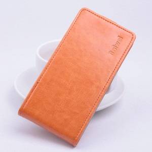 Глянцевый чехол вертикальная книжка на силиконовой основе с магнитной застежкой для Microsoft Lumia 650 Оранжевый