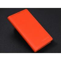 Кожаный чехол портмоне (нат. кожа) для Philips Xenium V787 Оранжевый