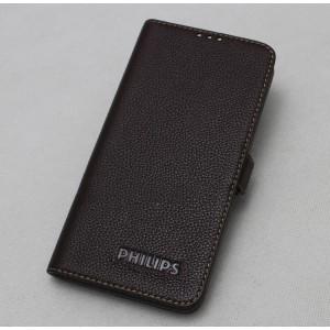 Кожаный чехол горизонтальная книжка (нат. кожа) для Philips Xenium V787