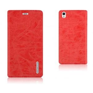 Винтажный чехол флип подставка на присоске с отделением для карты для OnePlus X Красный