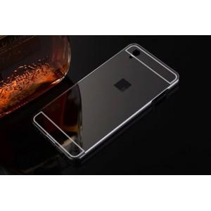 Двухкомпонентный чехол с металлическим бампером и поликарбонатной накладкой с зеркальным покрытием для OnePlus X Черный
