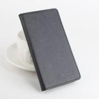 Чехол портмоне подставка на силиконовой основе с отделением для карт и магнитной защёлкой текстура Ткань для Lenovo A7010 Черный