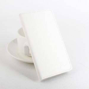 Чехол портмоне подставка на силиконовой основе с отделением для карт и магнитной защёлкой текстура Ткань для Lenovo A7010 Белый