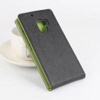 Чехол вертикальная книжка на силиконовой основе с магнитной застежкой текстура Ткань для Lenovo A7010 Черный