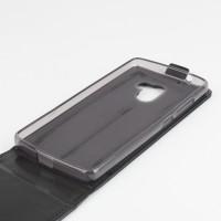 Глянцевый чехол вертикальная книжка на силиконовой основе с магнитной застежкой для Lenovo A7010 Черный
