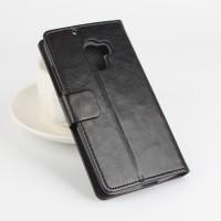 Глянцевый чехол портмоне подставка на силиконовой основе с отделением для карт и магнитной защёлкой для Lenovo A7010 Черный