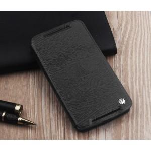 Чехол флип подставка на силиконовой основе текстура Дерево для Lenovo A7010 Черный